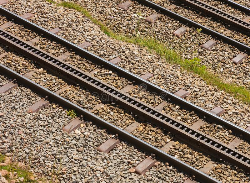 Spoor van de spoorweg van het bergrek op MT Rigi in Zwitserland stock foto's