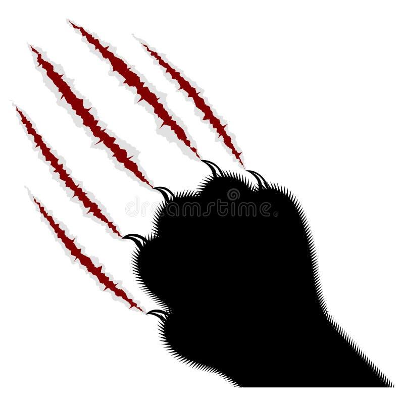 Spoor van klauwen van een roofdier op een witte achtergrond stock illustratie