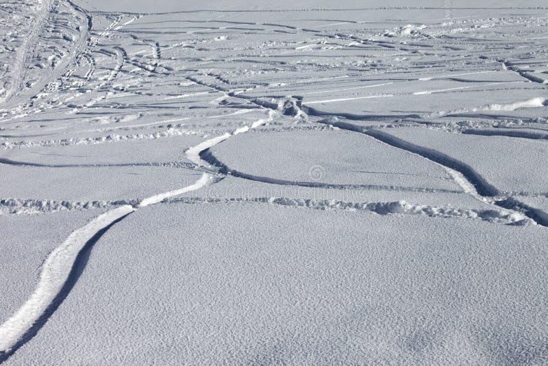 Spoor van ski en snowboards in nieuw-gevallen sneeuw royalty-vrije stock foto