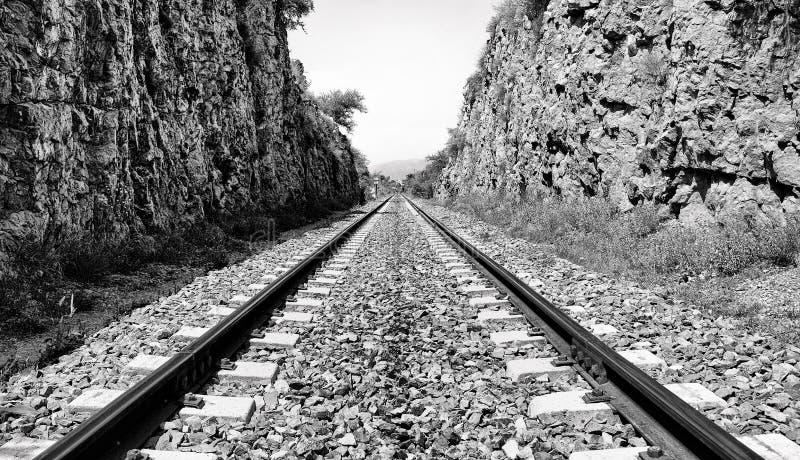 Spoorlijnen aan de oneindigheid stock afbeelding