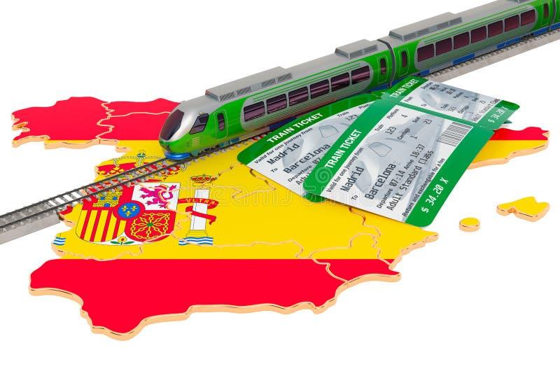 Spoorreis in Spanje, concept het 3d teruggeven royalty-vrije illustratie