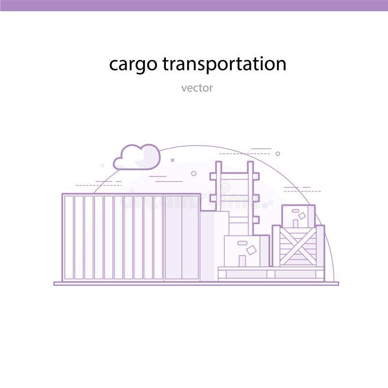 Spoorvervoer van bijzonder zware en omvangrijke goederen in containers vector illustratie
