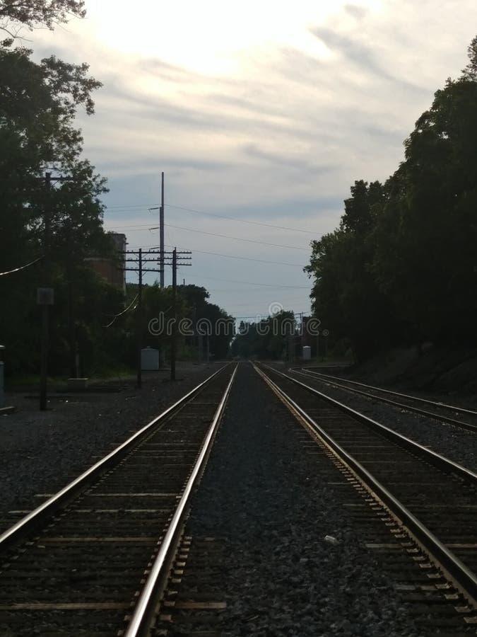 Spoorweg aan someplace stock afbeelding
