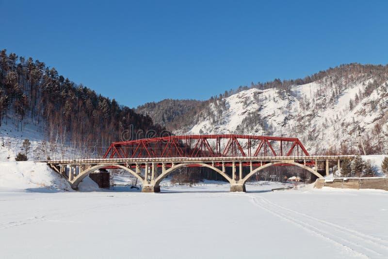 Spoorweg circum-Baikal stock foto