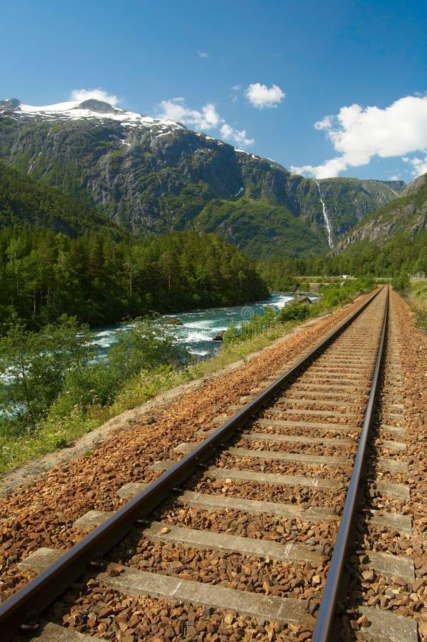 Spoorweg in de bergen royalty-vrije stock foto