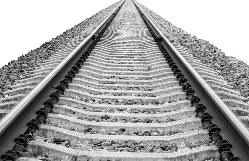 Spoorweg die die aan horizon verdwijnen op witte achtergrond wordt geïsoleerd royalty-vrije stock foto's