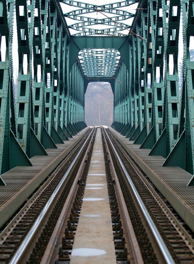 Spoorweg en brug stock foto's