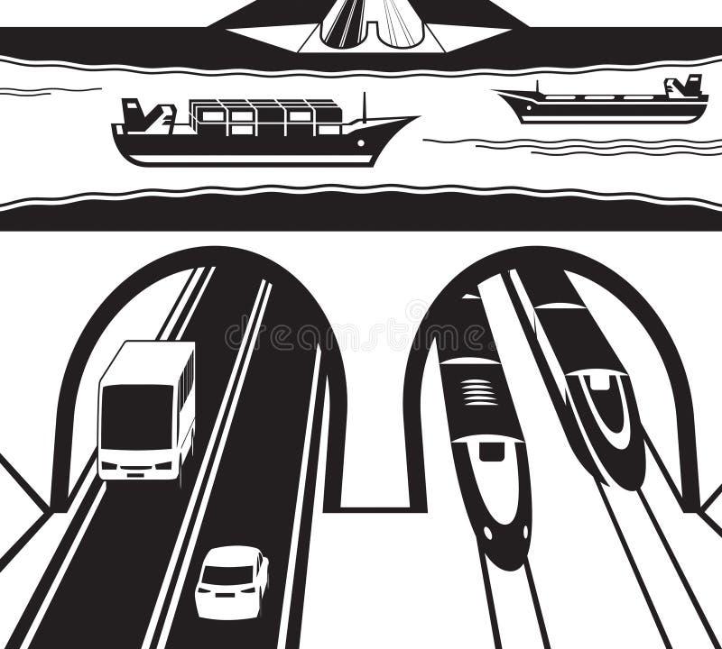 Spoorweg en wegtunnel onder water vector illustratie