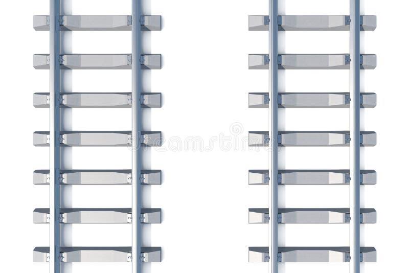 Spoorweg horizontale hoogste mening over witte achtergrond 3D Illustratie royalty-vrije illustratie
