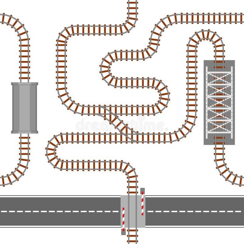 Spoorweg naadloos patroon, spoor of spoorweg hoogste mening Het spoor van het treinvervoer van staal en hout, golvend die spoor w stock illustratie