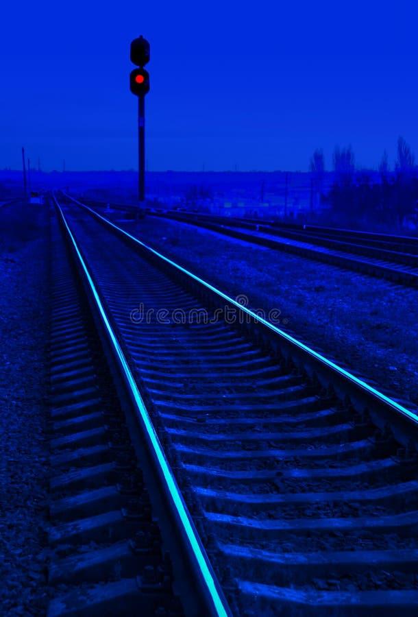 Spoorweg in nacht royalty-vrije stock foto's