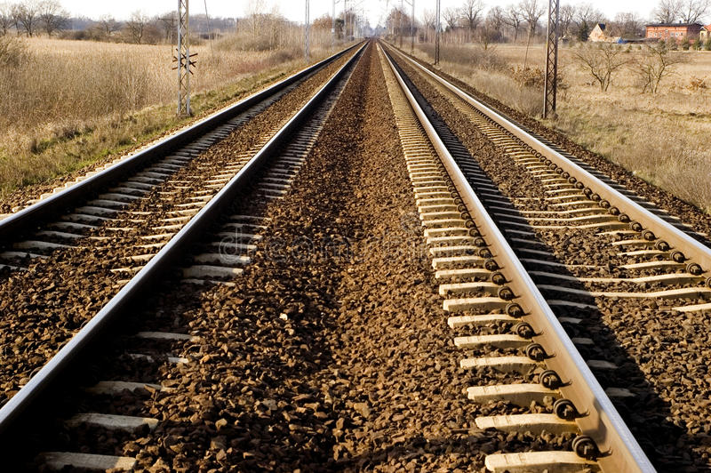 Spoorweg in Polen royalty-vrije stock fotografie