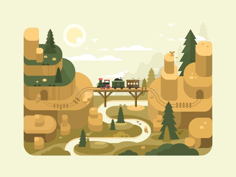 Spoorweg vlak ontwerp stock illustratie
