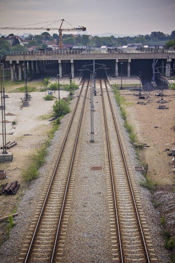 Spoorwegbouwwerf in Belgrado, Servië stock afbeeldingen