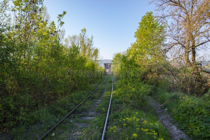 Spoorwegbrug in de lente royalty-vrije stock fotografie