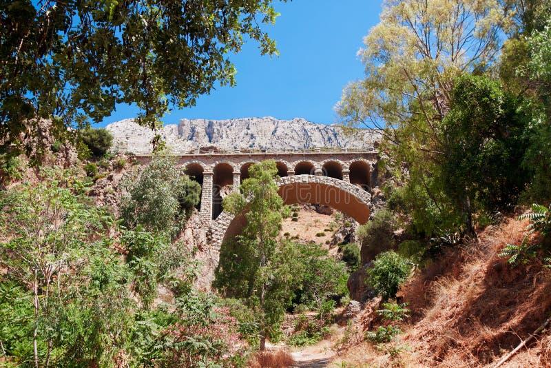 Spoorwegbrug dichtbij Koninklijke Sleep (Gr Caminito del Rey) in kloof C royalty-vrije stock foto's