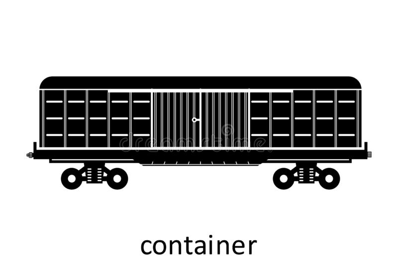 spoorwegcontainer met naam Ladingsvracht die Vervoer door:sturen Vector Geïsoleerd illustratie Zijaanzicht royalty-vrije illustratie