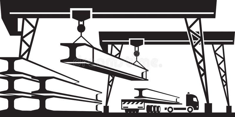 Spoorwegkraan die concrete panelen op vrachtwagen laden stock illustratie