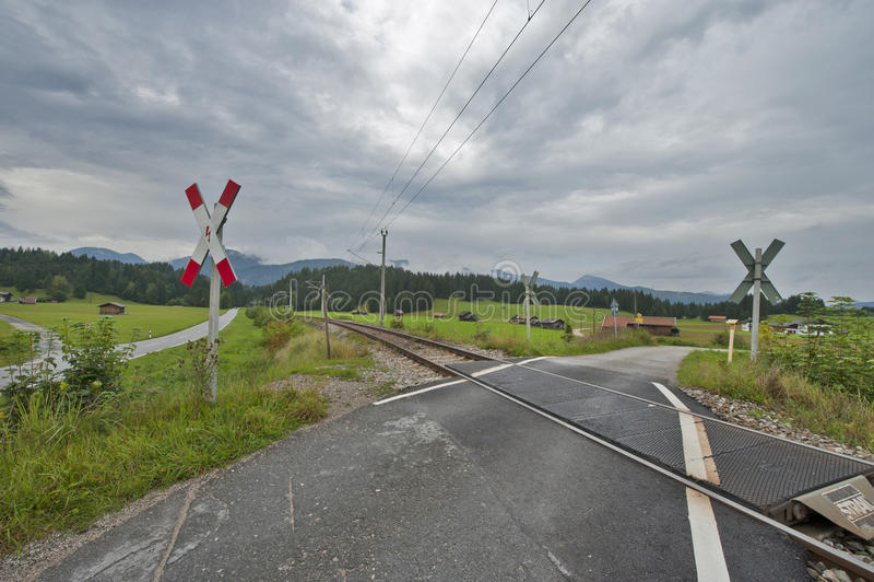 Spoorwegovergang stock afbeelding