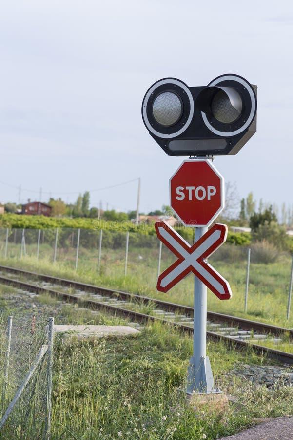 Spoorwegovergang stock foto's
