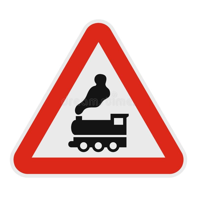 Spoorwegovergang zonder barrièrepictogram, vlakke stijl royalty-vrije illustratie