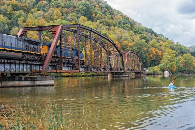 Spoorwegschraag bij het Park van de Staat van het Havikennest in West-Virginia royalty-vrije stock fotografie