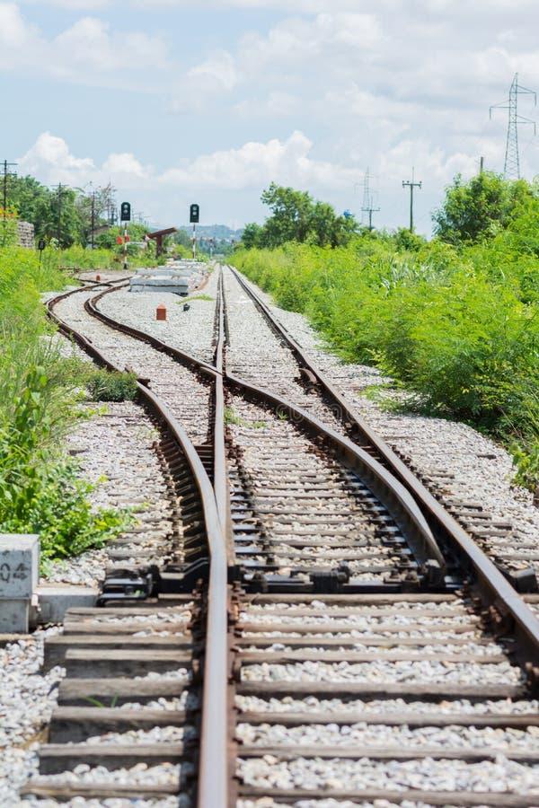 Spoorwegspoor, spoorwegverbinding royalty-vrije stock foto's