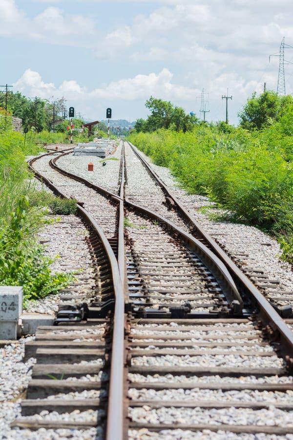Spoorwegspoor, spoorwegverbinding royalty-vrije stock afbeeldingen