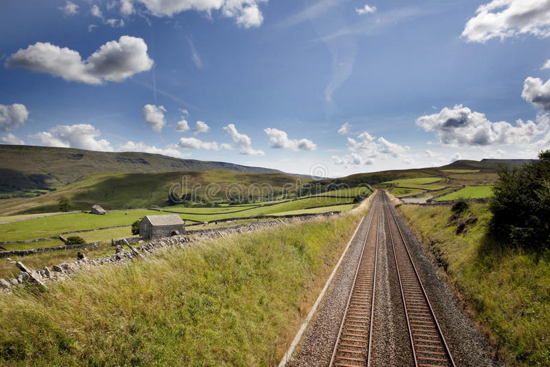 Spoorwegsporen dichtbij Kirkby Stephen, Cumbria royalty-vrije stock afbeeldingen