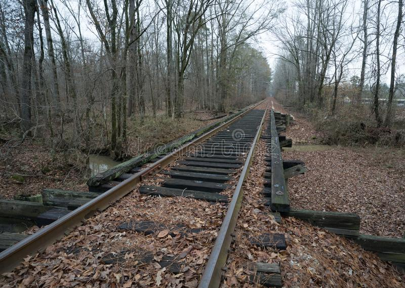 Spoorwegsporen die tot oneindigheid dichtbij Jonesboro, Louisiane leiden stock afbeelding