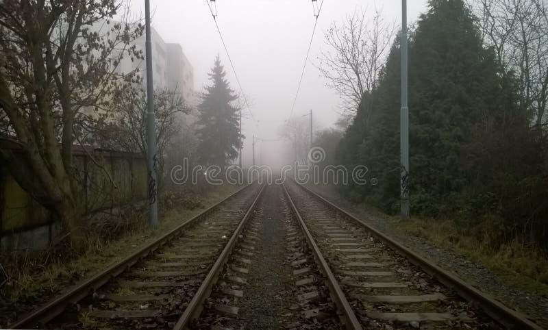 Spoorwegsporen in mist gedeeltelijk worden behandeld die stock foto's