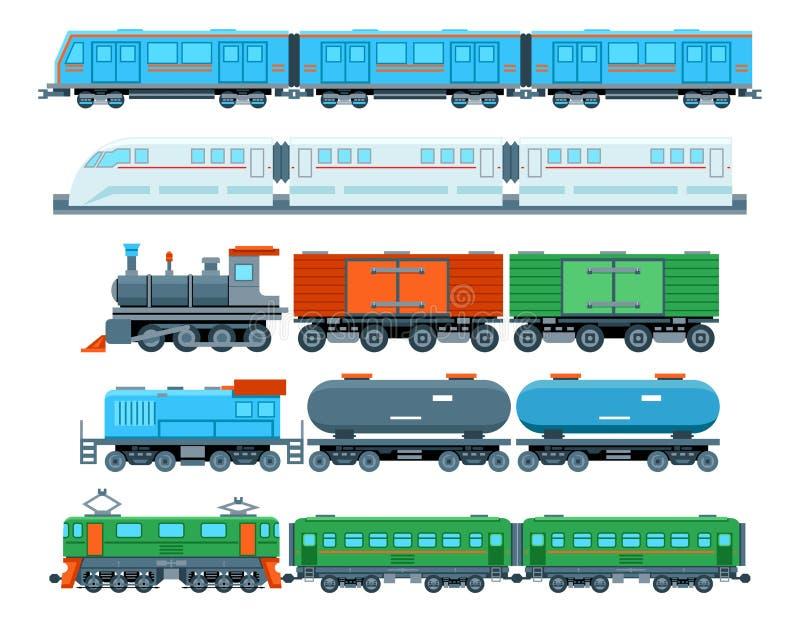 Spoorwegtreinen in vlakke stijl stock illustratie