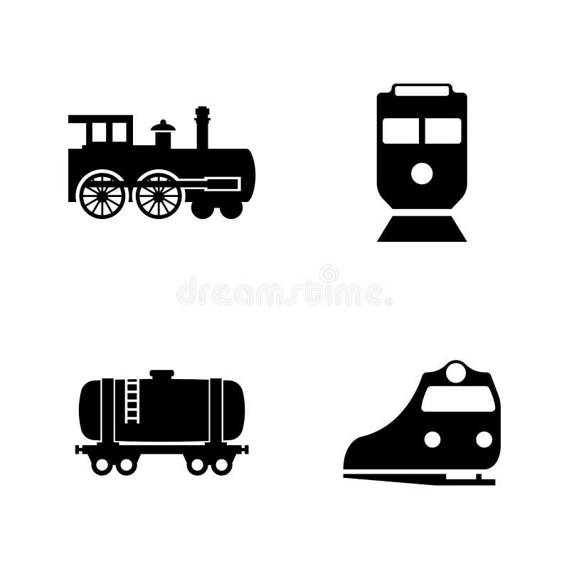 Spoorwegvervoer Eenvoudige Verwante Vectorpictogrammen royalty-vrije illustratie