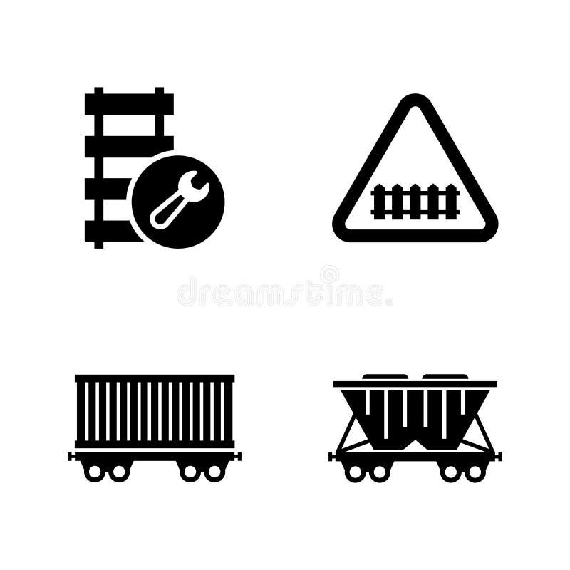 Spoorwegvervoer, Trein Eenvoudige Verwante Vectorpictogrammen royalty-vrije illustratie