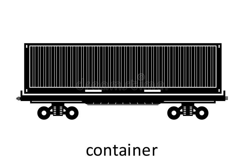 spoorwegvervoer van container met naam Ladingsvracht die Vervoer door:sturen Vector Geïsoleerd illustratie Zijaanzicht stock illustratie