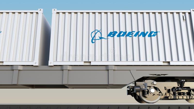 Spoorwegvervoer van containers met Boeing-Bedrijfembleem Het redactie 3D teruggeven vector illustratie