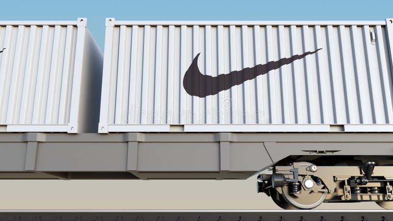 Spoorwegvervoer van containers met de inschrijving en het embleem van Nike Het redactie 3D teruggeven stock illustratie