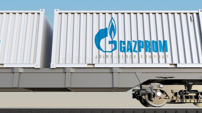 Spoorwegvervoer van containers met Gazprom-embleem Het redactie 3D teruggeven stock illustratie