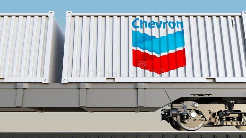 Spoorwegvervoer van containers met het embleem van het Chevronbedrijf Het redactie 3D teruggeven stock illustratie