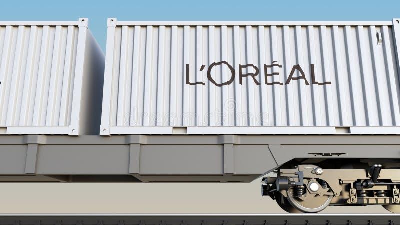 Spoorwegvervoer van containers met het embleem van L ` Oreal Het redactie 3D teruggeven royalty-vrije illustratie