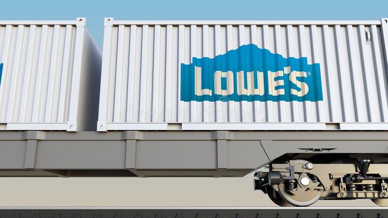 Spoorwegvervoer van containers met het embleem van Lowe ` s Het redactie 3D teruggeven vector illustratie