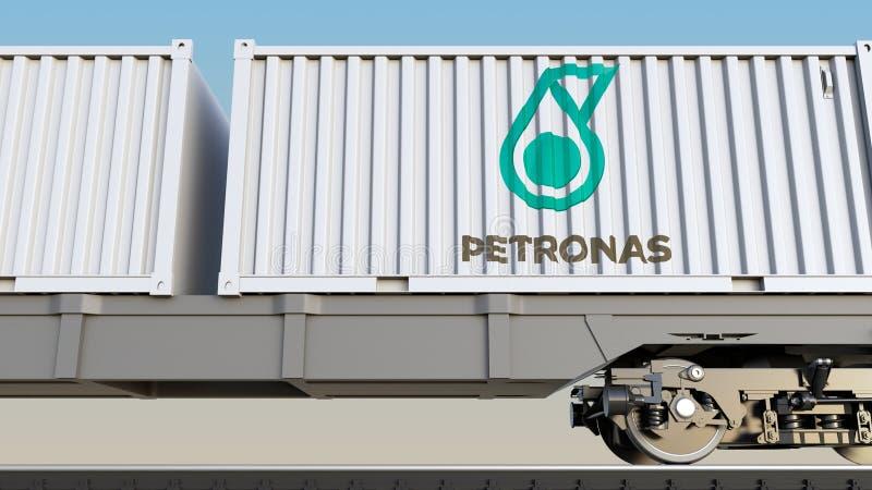 Spoorwegvervoer van containers met het embleem van Petroliam Nasional Berhad PETRONAS Het redactie 3D teruggeven royalty-vrije illustratie