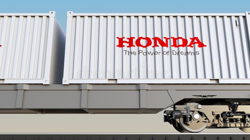 Spoorwegvervoer van containers met Honda-embleem Het redactie 3D teruggeven stock illustratie