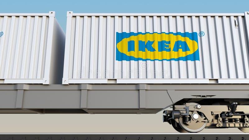 Spoorwegvervoer van containers met Ikea-embleem Het redactie 3D teruggeven royalty-vrije illustratie