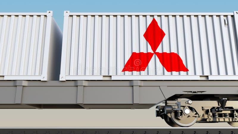Spoorwegvervoer van containers met Mitsubishi-embleem Het redactie 3D teruggeven vector illustratie