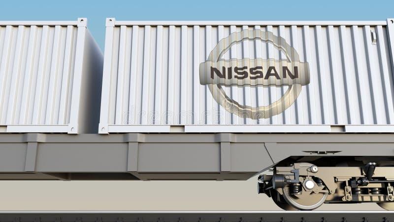 Spoorwegvervoer van containers met Nissan-embleem Het redactie 3D teruggeven royalty-vrije illustratie