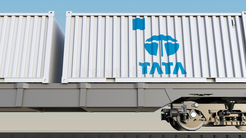 Spoorwegvervoer van containers met Tata Group-embleem Het redactie 3D teruggeven vector illustratie