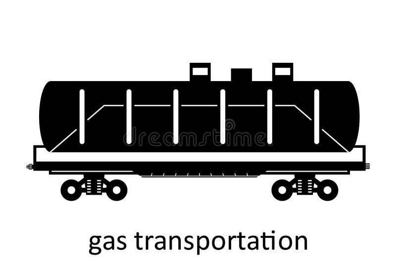 spoorwegvervoer van gasvervoer met naam Ladingsvracht die Vervoer door:sturen Vector Geïsoleerd illustratie Zijaanzicht royalty-vrije illustratie