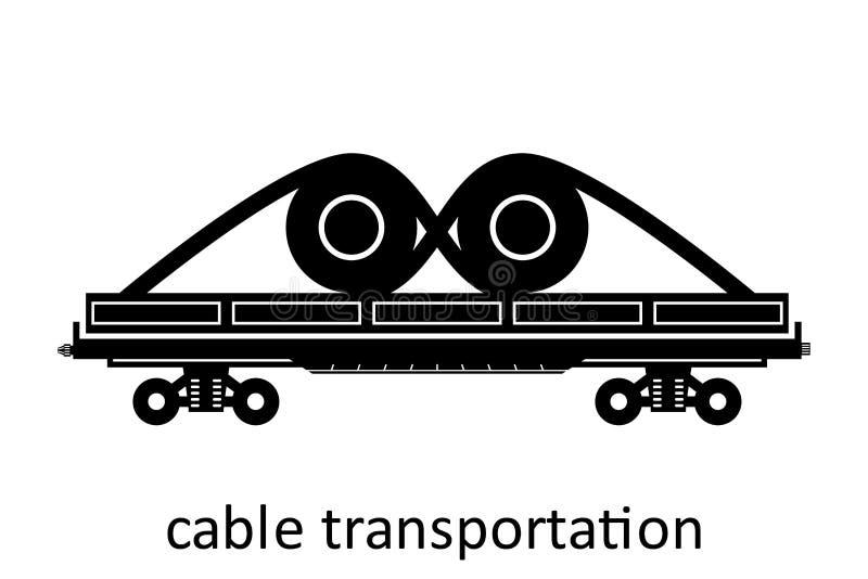 spoorwegvervoer van kabelvervoer met naam Ladingsvracht die Vervoer door:sturen Vector Geïsoleerd illustratie Zijaanzicht royalty-vrije illustratie