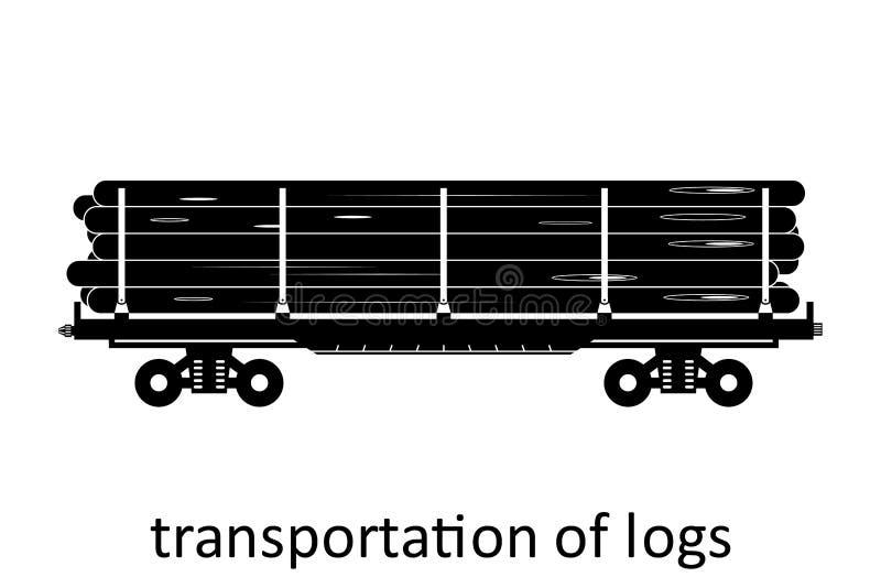 spoorwegvervoer van logboekenvervoer met naam Ladingsvracht die Vervoer door:sturen Vector Geïsoleerd illustratie Zijaanzicht stock illustratie